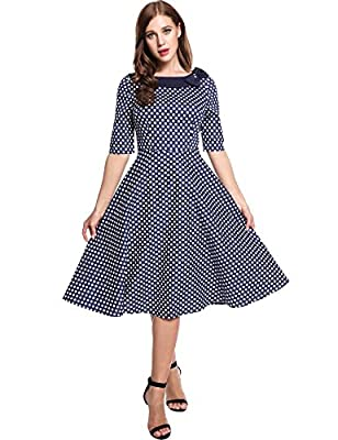 GEESENSS Women's Retro Vintage 1950s Polka Dot Party Swing Dress