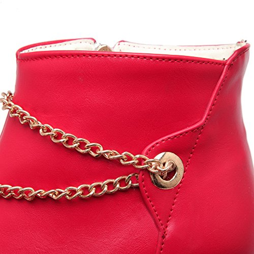 Closed PU Women's AgooLar Round Zipper Red Toe Solid Boots Heels High q01nSSRwBO