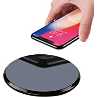 Qi Wireless Charger,WQQ 10W Upgraded Wireless Charging Pad Speed Up 45% for iPhone Xs/Xs Max/XR,iPhone X,iPhone 8 Plus/8,Samsung Galaxy S9/S9 Plus,S8/S8 Plus,S7 S6 Edge+/Edge,Note 8 7 5,LG G3, Nexus 4/5/6/7 and All Qi-Enable Devices (Black)