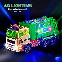 Zetz Brands Toy Garbage Truck for Kids with 4D Lights and Sounds - Battery Operated Automatic Bump & Go Car - Sanitation...