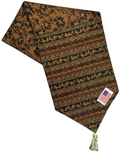 Manual Pembrook Mediterranean Floral Scroll Woven Tapestry Tablerunner TPMB72 12.5x72