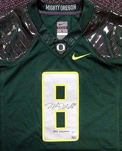 "Marcus Mariota Autographed Green Nike Jersey Oregon Ducks ""2014 Heisman"" Size Large MM Holo"