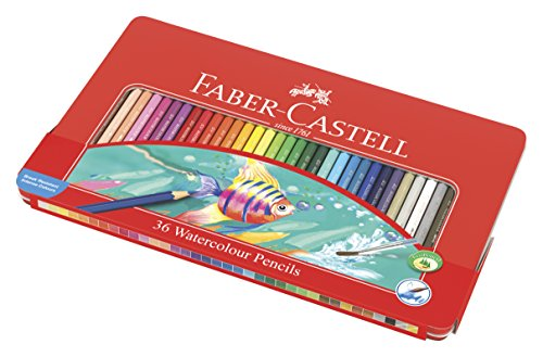 Faber-Castell 115931 Watercolor Pencil Set of 36 Assorted Color Tin Case