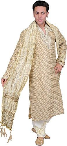 Exotic India Golden-Beige Wedding Kurta Pajama with Bro Size 42 by Exotic India