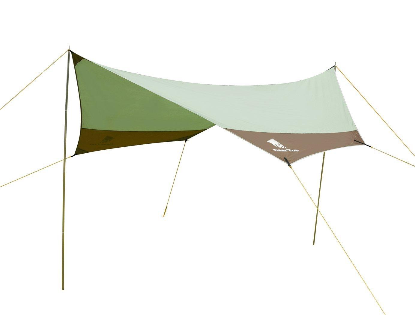 - Imperm/éable Large pour Camping randonn/ée Geertop Tarp//B/âche//Toile de Tente//Tente B/âche//B/âche de Abri 4 /à 7 Personnes Gris, 440 x 410 x 354 cm 2,1kg 4,4 m x 4,1 m P/ôles Inclus