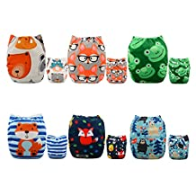 ALVABABY Cloth Diapers 6 PCS + 12 Inserts Adjustable Washable Reusable for Baby