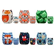 ALVABABY Pocket Cloth Diapers Reusable Washable Adjustable for Baby Boys and Girls ,6 Pack with 12 Inserts 6DM43