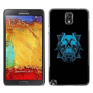 TECHCASE**Cubierta de la caja de protección la piel dura para el ** Samsung Galaxy Note 3 N9000 N9002 N9005 ** Blue Skull & Blades