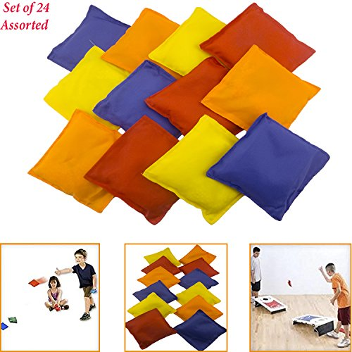 Adorox Set of 24 Assorted 5 Nylon Bean Bags Cornhole Primary Colors Carnival Game