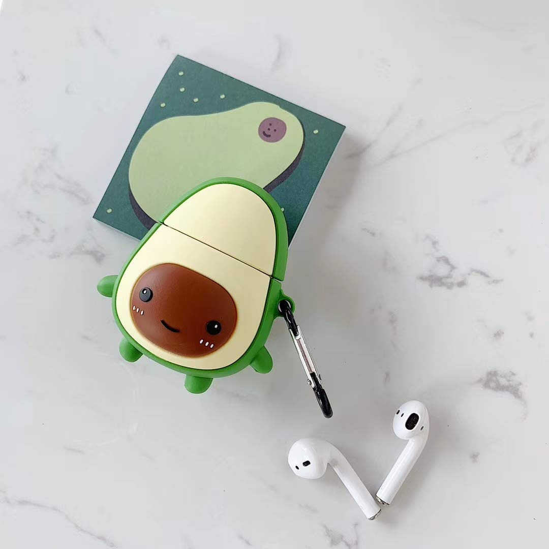 Cute 3D Funny Cartoon Funda de Silicona Suave Aguacate Kawaii Fun Cool para ni/ñas Ni/ños Ni/ños Air pods SevenPanda Funda Airpod de Dibujos Animados para Apple Airpods 1 y 2