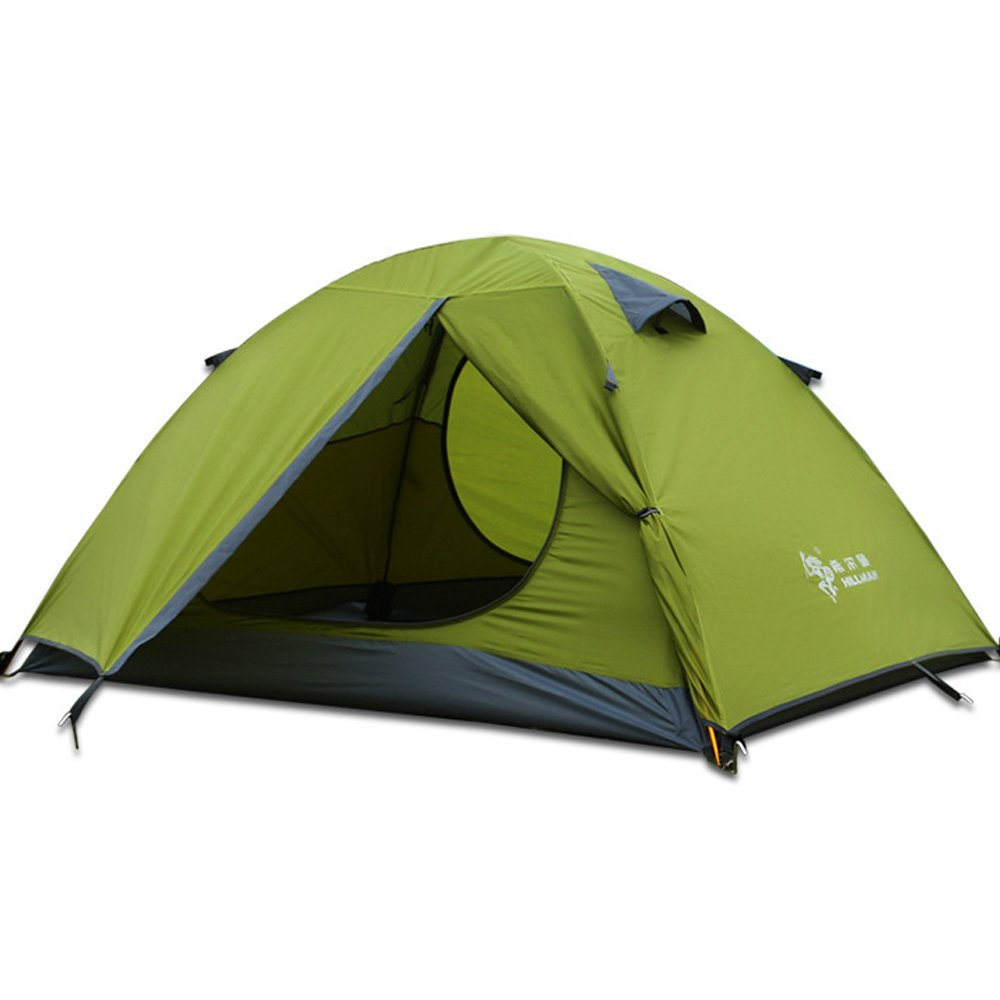 HILLMAN Two Person Camping Tent Outdoor Backpacking Lightweight Waterproof Family Tents pop up Instant Portable Compact shelter Easy Set up (Green-2 Person) by HILLMAN