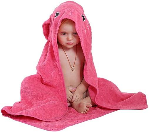 YIIVAN 1 pcs Animal Modelo Capa Algodón Albornoz Bebé Dibujos Animados Bebé Toalla Niños Baño Albornoz Toalla con Capucha, Rosa Conejo Rojo: Amazon.es: Hogar