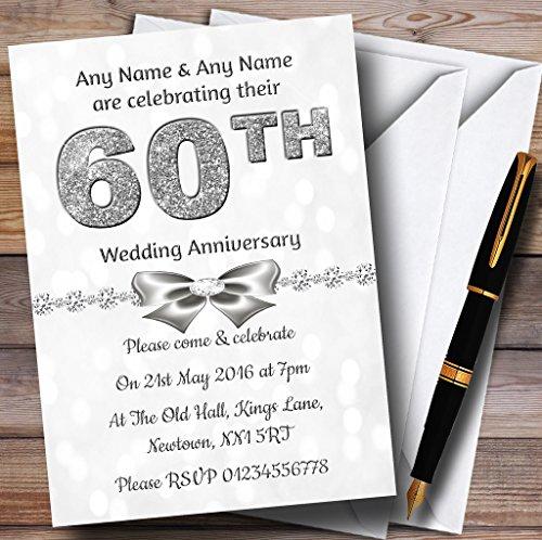 White Bokeh & Silver Glitter Look 60Th Personalized Anniversary Party Invitat. 60th Wedding Anniversary Invitations