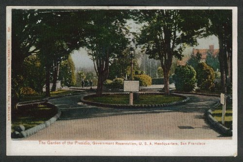 Presidio Garden Government Reservation San Francisco CA undivided back postcard from The Jumping Frog