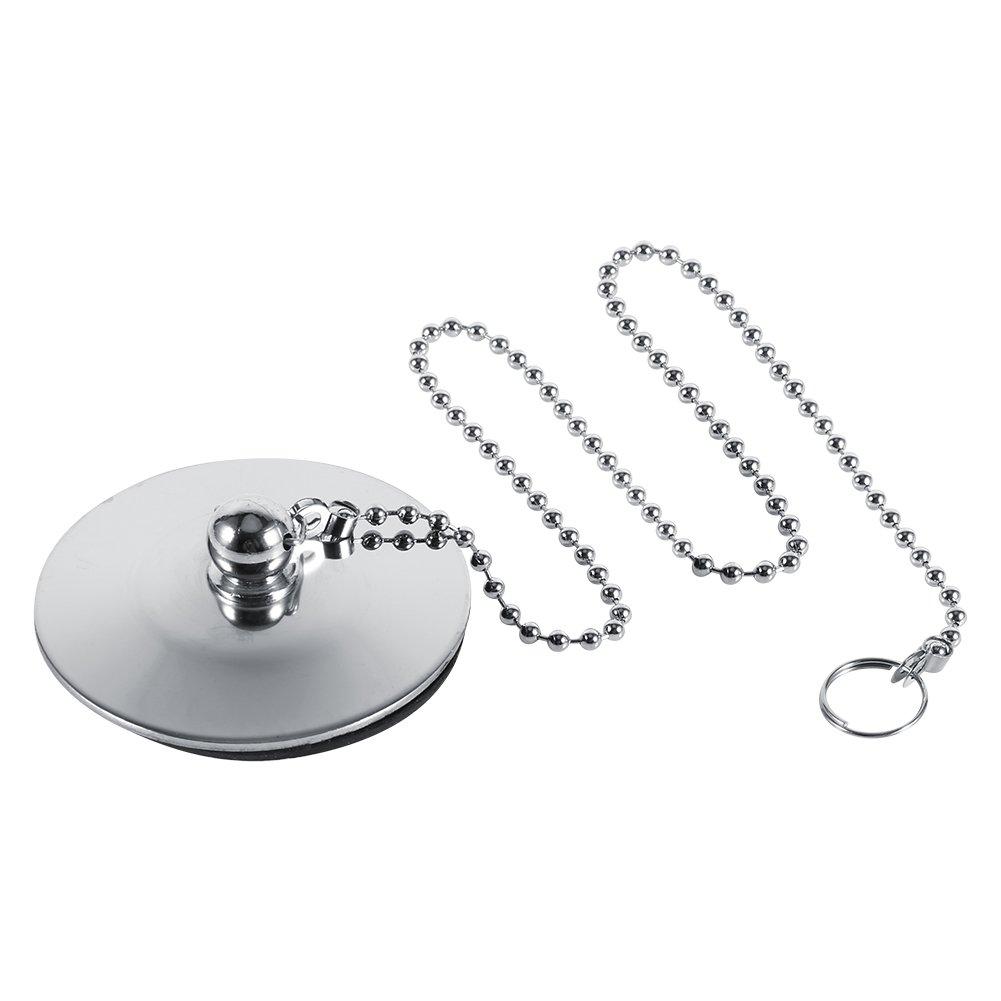 Fdit Chrome Kitchen Sink Baño Tapón de desagüe bañera tapón de drenaje de metal sólido con cadena: Amazon.es: Hogar