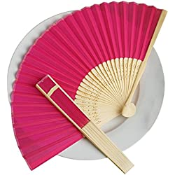 BalsaCircle 50 Fuchsia Decorative Silk Fabric Folding Handheld Hand Fans - Wedding Birthday Party Favors Decorations Supplies Bulk