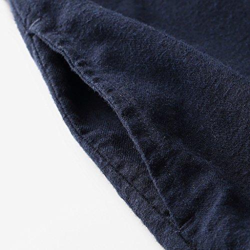 Autumn Winter Shirt Long-Sleeved Women's Long Coat Loose Cotton Blouse (Color : Dark Blue, Size : M) by LI SHI XIANG SHOP (Image #3)