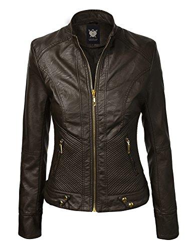 LL WJC694 Womens Quilted Biker Jacket S KHAKI