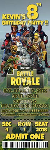 FORTNITE TICKET STYLE BIRTHDAY PARTY INVITATIONS (WITH ENVELOPES) #1 -