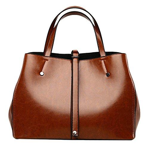 Frauen Echtes Leder Schultertasche Öl Wachs Leder Große Kapazität Retro Tote Bag Schultertasche Fashion Soft Bag Brown