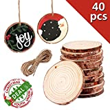 """40Pcs 2""""-2.4"""" Unfinished Natural Wood Slices Craft Wood Kit Unfinished Predrilled with Hole Wooden Circles for Arts and Crafts Christmas Ornaments DIY Crafts (40Pcs 2""""-2.4"""")"""