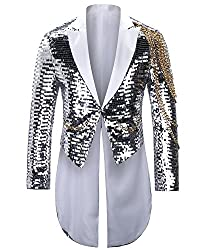 Men's Slim Fit Shiny Sequin Tailcoat