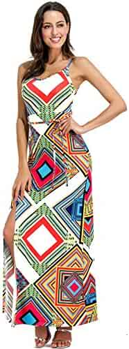01127722a7c7 Sleeveless Ethnic Tribal Geometric Side Split Long Maxi Bodycon Column Dress