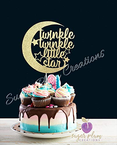 Twinkle Twinkle Little Star Cake Topper Half Moon