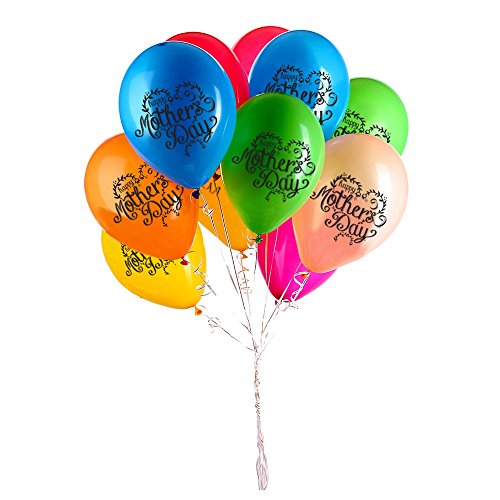 Mother's Day Balloons - 12 Assorted Colours - Creates Instant Party Atmosphere - 40 Latex Balloons - With Celebratory Print - Make Your Mom Smile