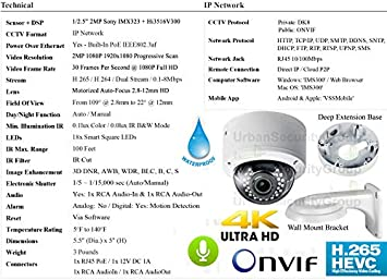 Urban Security Group 2MP 1080P 30FPS Full HD IP PoE Dome Camera Motorized 2.8-12mm Auto-Focus Lens, 100ft IR LEDs, IR-Cut, ONVIF, WDR, Weatherproof, Motion Detection Pro Grade