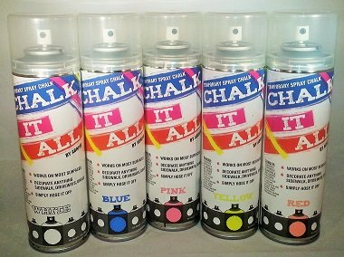 Chalk It All 5 Pack- One Each White, Yellow, Blue, Red/Orange, Pink by Abrivo Sports