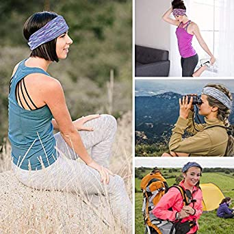 4 Pack Sports Workout Hair Bands Ultra Stretch Floral Style Elastic Head Wrap for Girls Yoga Running Headbands Xuyoz Headbands for Women fabric Cotton Elastic none-Slip Sweatbands Headband New