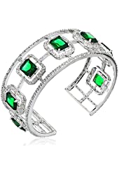"CZ by Kenneth Jay Lane ""Trend Cubic Zirconia"" Rhodium-Plated Emerald-Color Cubic Zirconia Cuff Bracelet, 21 CTTW"