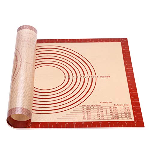 Smilelove Silicone Pastry Mat, Extra Large with Measurements-Silicone Non Slip Baking Mat, Counter Mat, Dough Rolling Mat, Fondant/Pie Crust Mat(91x60 cm Red)