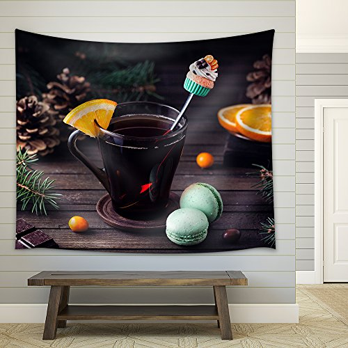 Decorative Spoon with Cupcake in the Glass with Tea and Oranges Slice Fabric Wall Tapestry