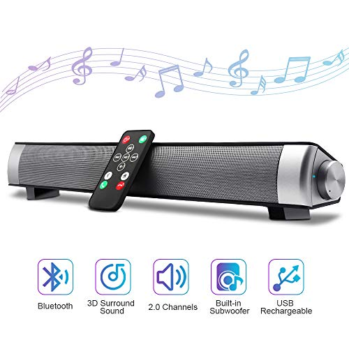 Bluetooth Sound Bar 15.7' Portable Wireless Speakers for Home Theater Surround Sound with Built-in Subwoofers for TV/PC/Phones/Tablets,with Remote Control