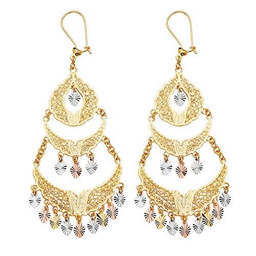 Filigree Gold White Earrings (Wellingsale 14k 3 Tri Color White Yellow and Rose Gold Filigree Chandelier Earrings (78 x 30 mm))