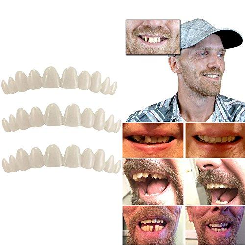 Fake Teeth 3pcs Set, Elevin(TM) Temporary Tooth Kit Natural Veneer Replace Missing Teeth Cover DIY Safe Easy (3 corlors set)