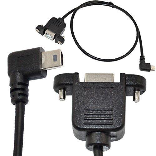 50cm USB 2.0 B female panel mount to mini 5pin male right an