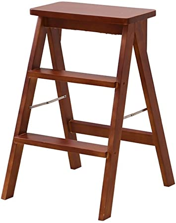 AJS Silla Plegable Multifuncional | Escalón Plegable Escalera De Madera | Mesa De Cocina Taburete Escalonado Biblioteca Oficina Mini Escalón De 3 Pasos | Escalera Plegable Simple Granja Multiuso 63X42: Amazon.es: Hogar
