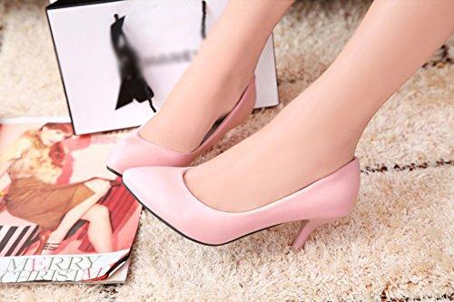 Aisun Damen Elegant Spitz Zehen Kunstleder Low Top Stiletto High Heel Business Pumps Pink