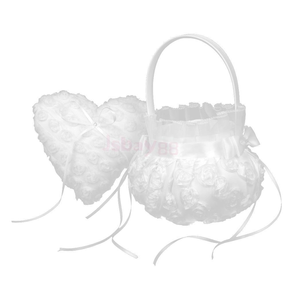 OLIVE US-Pure White Lace Heart Ring Pillow Flower Girl Basket Set Wedding Party Decor