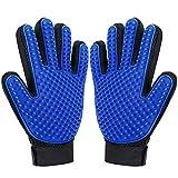 DELOMO Pet Grooming Glove Enhanced Five Finger Design Gentle Deshedding Brush Glove - 1 Pair (Blue)