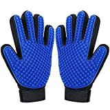 DELOMO Pet Grooming Glove, Pet Deshedding Glove, Cat and Dog Grooming Gloves, Brush Glove-1 Pair (Blue)