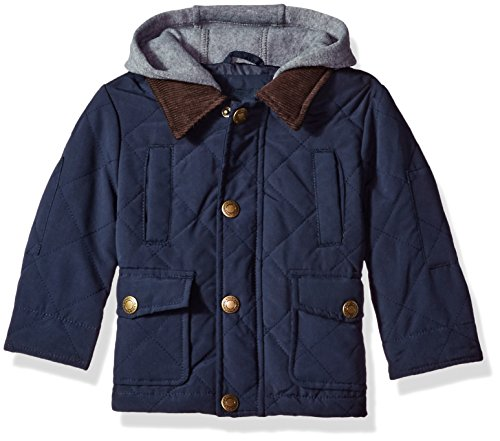 London Fog Baby Boys Quilted Barn Coat with Hood, Navy, 18M by London Fog
