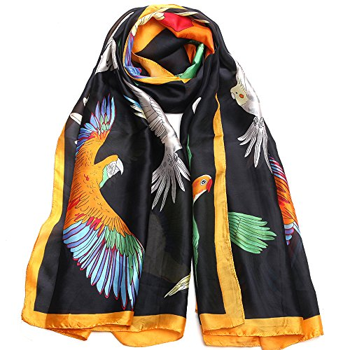 Sleep Koala Women Silk Scarf Large Satin Hair Scarves Fashion Parrot Pattern Wrap