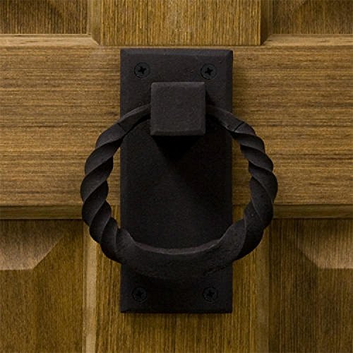 Casa Hardware Iron Twisted Ring Door Knocker in Black Finish Iron Ring Door Knocker