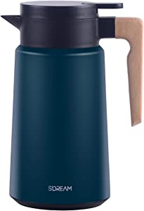 SDREAM Coffee Carafe Stainless Steel,Heavy Duty Thermal Carafe,Double Walled Insulated Vacuum Flask,12 - Hour Heat Retention, 61 Oz Beverage Dispenser with Lid and Handle, Green