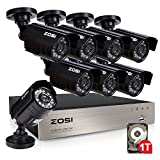 ZOSI 8-Channel 720P HD Video Security System CCTV DVR 1TB Hard Drive + 8 Indoor/Outdoor 1.0MP 1280TVL Surveillance Security Camera System (Full 720P, 1080P HDMI Output, Weatherproof)