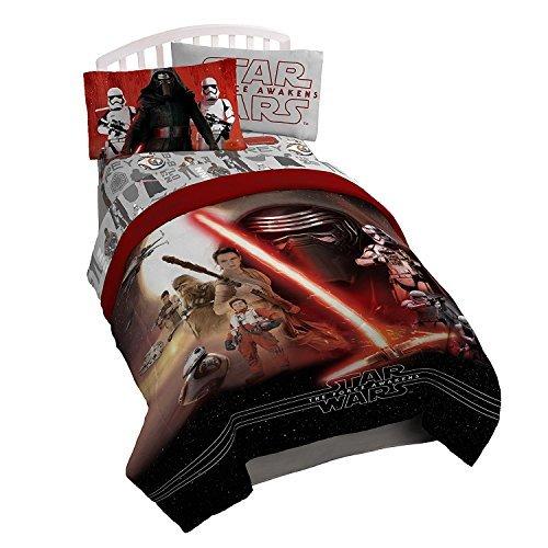 Disney Star Wars Kids Ep7 Twin Bed Set - Boys Bedding Reversible Comforter...